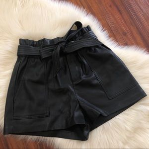 zara pleather paper bag shorts